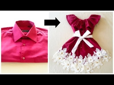 Quick Transformation Old shirt Into Cute Baby Frock