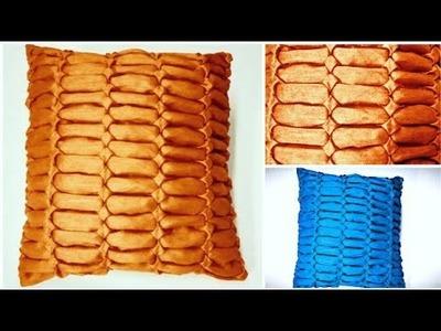 Smocking cushion cover design pattern making on silk cutting stitching in hindi at home punto