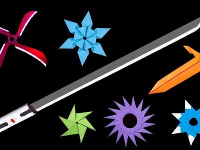 08 Easy Origami Ninja Star.Sword.Knife - How to make