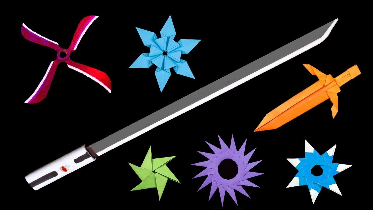 08 Easy Origami Ninja Star.Sword.Knife - How to make