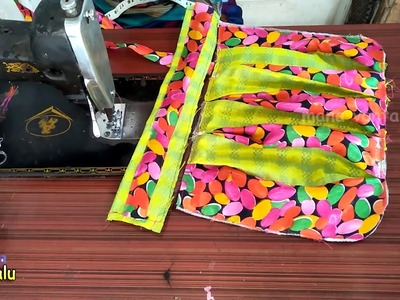 Best re-use of waste cloth.EASY.handmade big shopping bag  lunch bag. handbag cutting and stitching