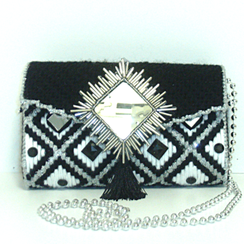 Black,Sliver & White Jeweled Clutch