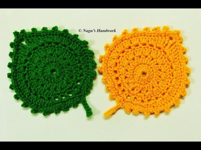 Crochet Coaster Placemat-Crochet Leaf Coaster-Crochet Leaf Coaster Pattern-How to crochet a coaster