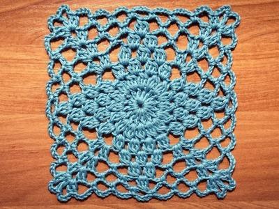 Crochet Lace Square Motif Tutorial Part 1