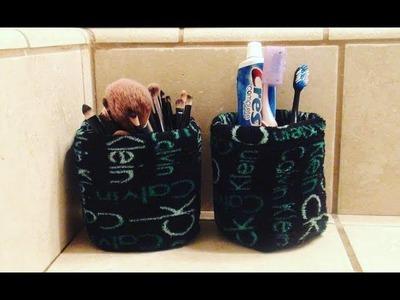 DIY: Upcycled Plastic Bottle Makeup Brush Holder. Toothbrush Holder