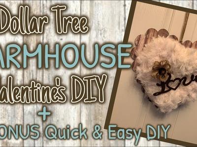 DOLLAR TREE FARMHOUSE Valentine's DIY + A BONUS Quick and EASY DIY