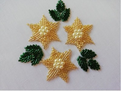 Hand embroidery; beautifull flower with beads.