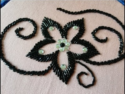 Hand embroidery with beads beautiful flower