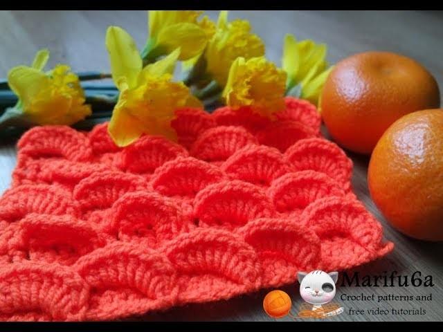 How to crochet orange 3D blanket afghan or scarf free pattern tutorial by marifu6a