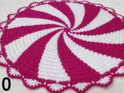 How to Crochet Spiral Thaalposh. Thaal Cover. Table Top #10