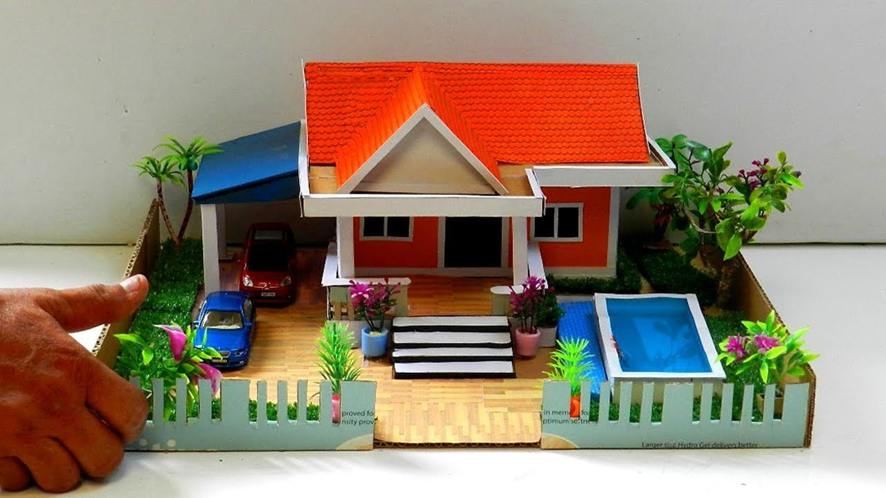How To Make a Cardboard House with Swimming Pool and Garden #44