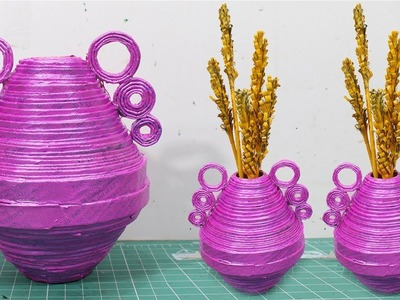 How to make flower vase with newspaper at home | Newspaper flower vase