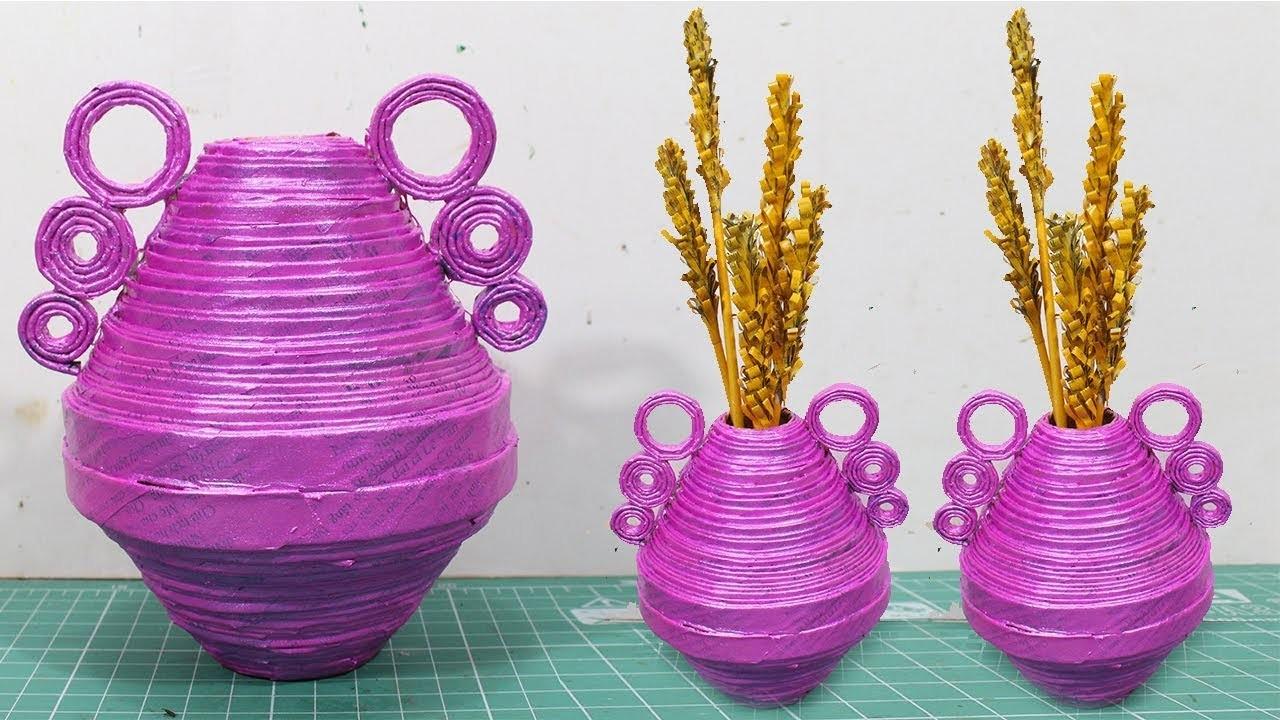 How to make flower vase with newspaper at home | Newspaper flower vase