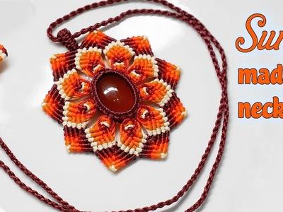 Macrame Sunny necklace tutorial:combine agate bead and mandalas pattern - Thắt dây chuyền mandalas