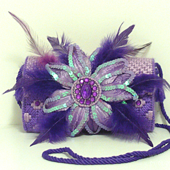 Purple Floral Feathered Jeweled Clutch