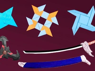 Top 05 Easy Origami Ninja Star.sword.Knife - How to make