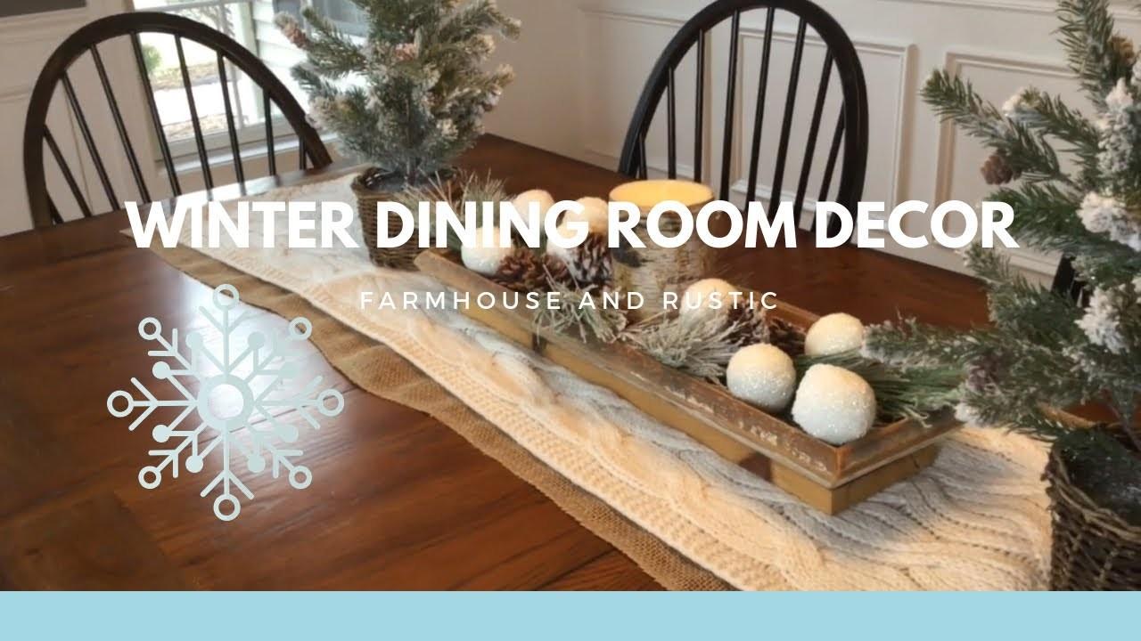 ❄️❄️WINTER DINING ROOM DECOR❄️❄️.RUSTIC AND FARMHOUSE WINTER DECOR.RAE DUNN HUTCH DECOR