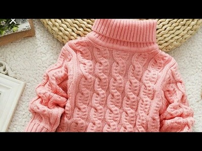 Cute High Neck Cable Sweater For Boys And Girls.Simple Cable Design In Hindi-MUST TRY!!:Design-227