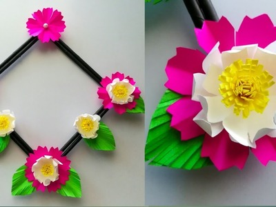 Diy paper flower wall hanging. Simple and beautiful wall hanging. Wall decoration by KovaiCraft