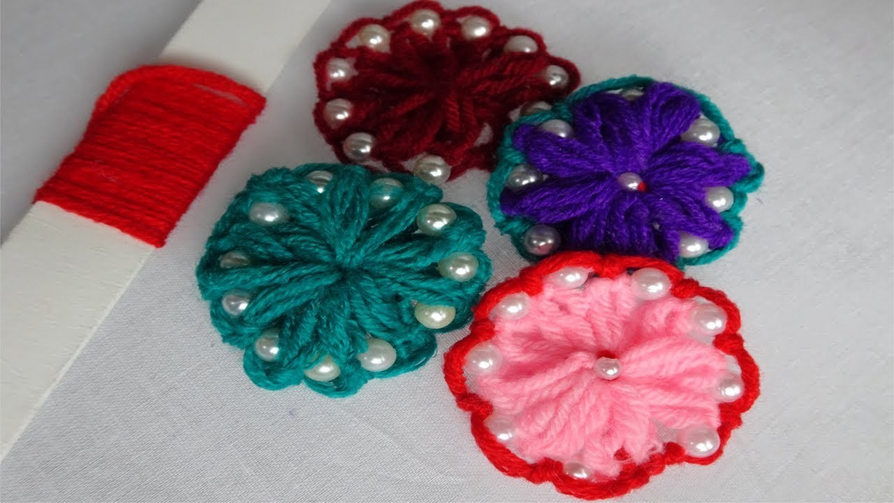 Hand Embroidery wool yarn flower with pearls   easy hand embroidery tutorial