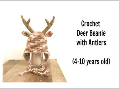 How to Crochet Deer Beanie with Antlers (4-10 years old)