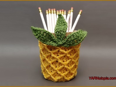 How to Crochet Tutorial: DIY Pineapple Jar Cozy by YARNutopia