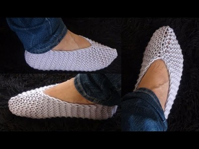 How to Knit one Piece Slippers Pattern #901│by ThePatternFamily