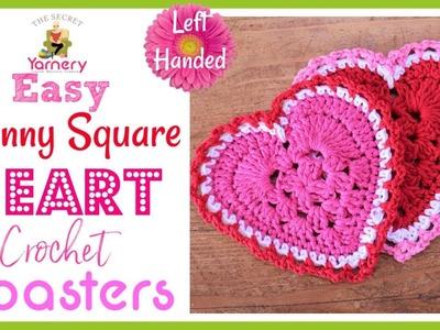 LEFT HANDED Granny Square Heart Easy Crochet Coaster Pattern