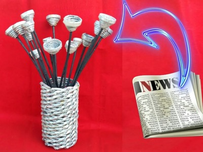 Newspaper flower vase | flower vase making | newspaper craft | HMA##287
