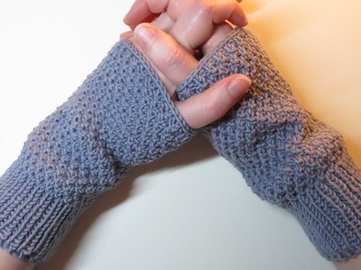 Rib Stitch & Irish Moss.Seed Stitch Wrist Warmers