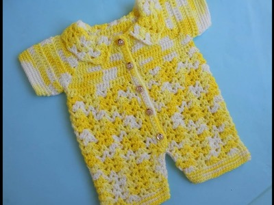 Baby Romper Sweater.Easy Crocheted Baby Jumper Sweater
