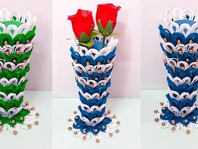 DIY flower vase with paper at home |paper Flower vase making idea.