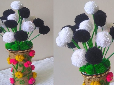 DIY-Woolen Guldasta New Ideas.Flower Pot.Waste Plastic bottle Guldasta.New Craft.DIY Craft