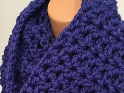 Easy Crochet Infinity Scarf using V stitch