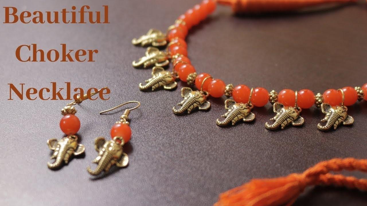 Ganesha Charms Necklace   How to Make Choker Necklace    Ananya Mondal