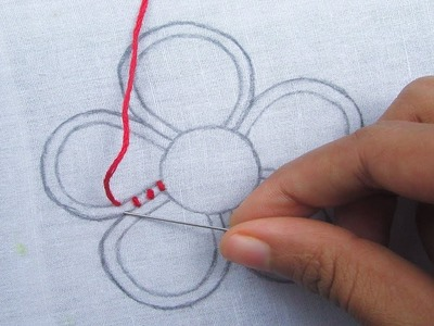 Hand Embroidery, Easy Flower Embroidery, Raised chain Stitch, Fantasy Flower Embroidery Designs