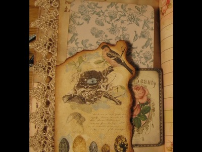 How to distress and create burnt looking edges in a junk journal