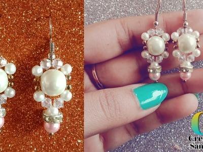 How to make Easy Pearl Earrings    DIY pearl and crystal Earrings    Earrings making