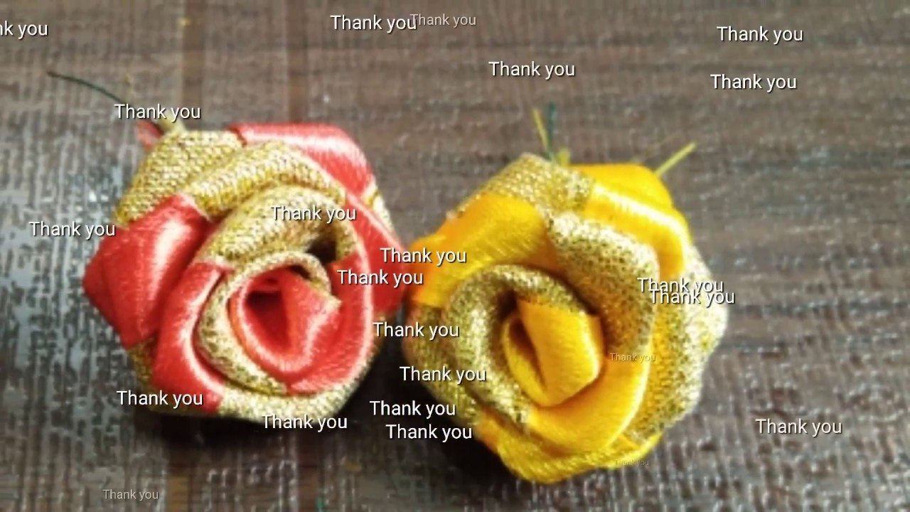 How to make easy rose flowers for hair brooch. lace.simple ribbon flowers
