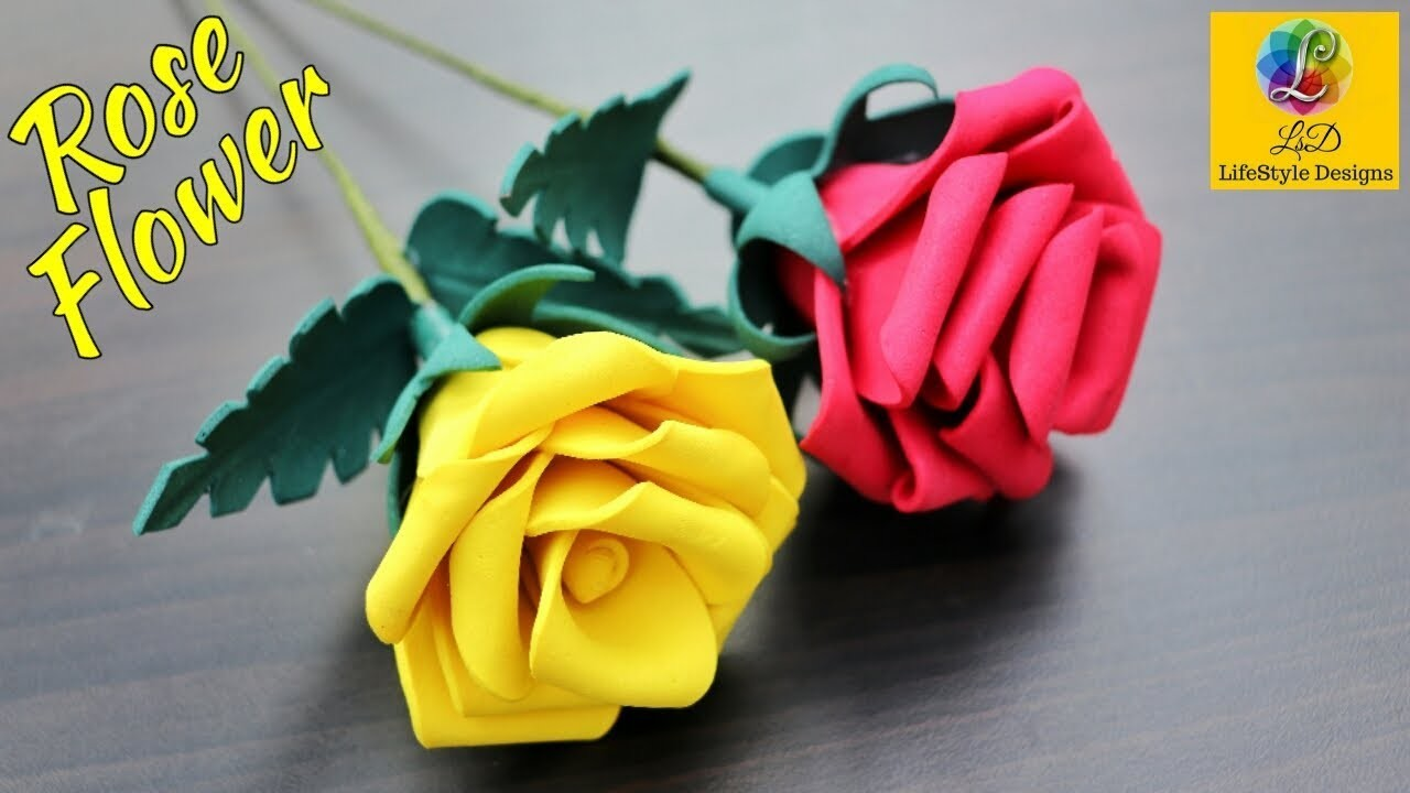 How To Make Foam Sheet Rose flowers | Realistic Rose Using Foam Sheet | DIY Foam Sheet Flower Craft
