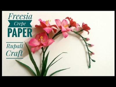 How to make freesia crepe paper flowers.crepe paper flowers freesia tutorial.diy paper flowers