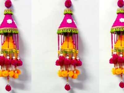 How to Make Wind Chime.Wall Hanging From Wool at Home | Jhumar craft idea|DIY Room Decor