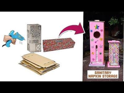 HOW TO TURN OLD BOXES INTO NICE ORGANIZERS.SANITARY NAPKIN STORAGE!. BABY DIAPER STORAGE - DIY!