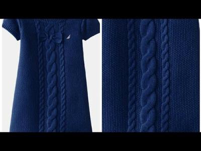 Long Handmade Winter Dress For Girls.Beautiful Cable And Sabudana Frock:Design-236