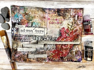 """Mixed media art journal My word for the year """"Discover"""""""
