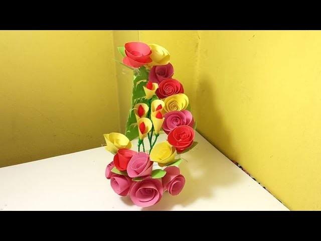 Paper Decoration with Plastic Bottle | Flower Vase Paper with Bottle | DIY Project