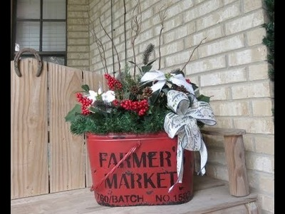 Tricia's Christmas: Bucket Arrangement for My Porch and Announcement!