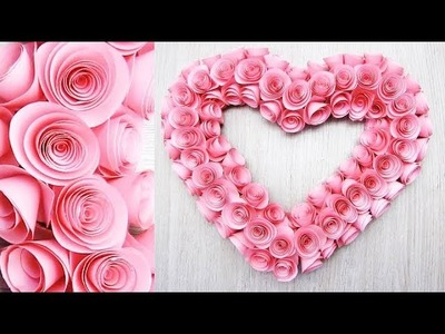 Wall Decoration Ideas. Heart Design Valentine's Day Room Decor Ideas. Paper Flower Wall Hanging 9