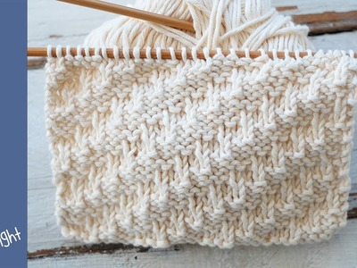 A textured knitting stitch for beginners: Diagonal to the right -For scarves, cowls, blankets