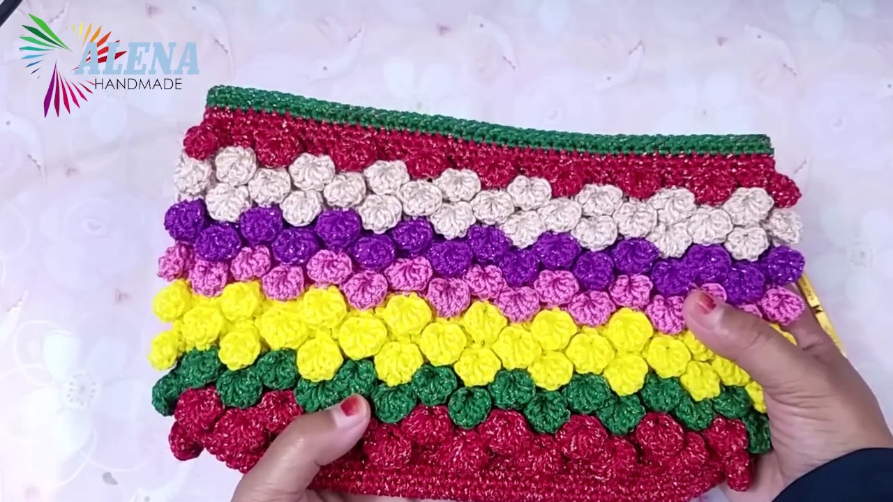 Crochet.tutorial dompet rajut motif bobble shell stitch.popcorn shell stitch